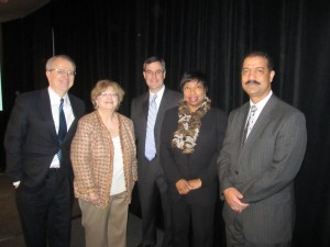 From the left, Chief Judge Jonathan Lippman, PBI President Esther Lardent, Judge William Bright, Judge Bernice Donald, and Chief Judge Eric Washington.