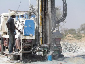 A well in Lampiadi, Burkina Faso, being drilled days before its scheduled official opening to the public on World Water Day. Photo: The BARKA Foundation