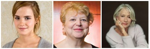 PBI President and CEO Esther F. Lardent alongside Emma Watson and Helen Mirren.